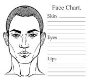Male face chart make up artist blank. Stock Photo