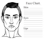 Male face chart make up artist blank. Royalty Free Stock Photography