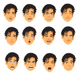 Male face expressions. Cartoon illustration of different male face expressions isolated on a white background Stock Photos