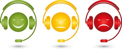Male, face and headphones, smiley, colored, rating. Different males, face and headphones, facial expressions, faces in color, rating illustration royalty free illustration