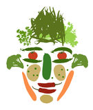 Male face made of vegetables Stock Photography