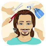 Male face and many hands making different beauty salon services Stock Photo