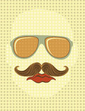 Male face with sunglasses and mustache Royalty Free Stock Images