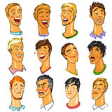 Male faces - Expressions. Royalty Free Stock Photo