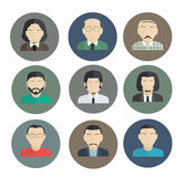 Male Faces, icons of characters in a flat style. Royalty Free Stock Photography