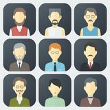 Male Faces Icons Set Stock Photos