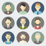 Male Faces Icons Set Royalty Free Stock Image