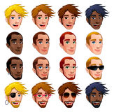Male faces, vector isolated characters. stock illustration