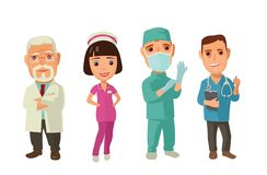 Male, faemale doctor character set icon. Vector flat illustration on white background. Collection icon Stock Photos