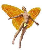 Male fairy. From fantasy world. He has bright orange and yellow butterfly like wings and red hair. Isolated on white background Royalty Free Stock Images