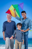 Male family members playing with a kite Stock Photography
