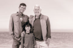 Male family members posing at the beach royalty free stock photo