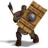 Male Fantasy Orc Barbarian with Giant Axe Stock Photos