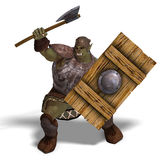 Male Fantasy Orc Barbarian with Giant Axe. 3D rendering with clipping path and shadow over white Stock Image