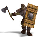 Male Fantasy Orc Barbarian with Giant Axe. 3D Stock Photo