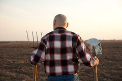 Male farmer back Stock Photos