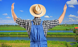 Male farmer gesturing with raised hands. A male farmer gesturing with raised hands with field in the background Stock Photo
