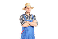 Male farmer in jumpsuit. Posing isolated on white background Royalty Free Stock Photo