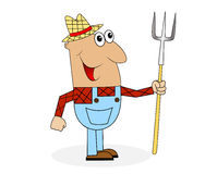 Male farmer with a pitchfork in hands. Vector illustration Stock Photo