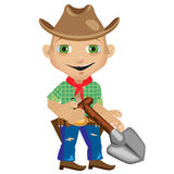 Male farmer with shovel in westerns style. Male farmer with shovel in style of westerns royalty free illustration