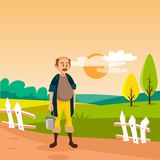 Male farmer standing with bucket, cultivated agriculture field, rural landscape vector Illustration. Web design Royalty Free Stock Photos
