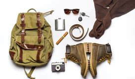 Male fashion accessories flat lay isolated Royalty Free Stock Images