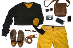 Male fashion accessories flat lay isolated Stock Photo
