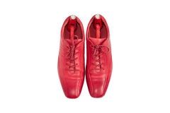 Male fashion leather shoes crimson color and shoe trees vintage Stock Photo