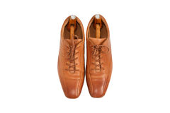 Male fashion leather shoes and shoe trees vintage style Royalty Free Stock Images