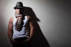 Male Fashion Model. Young male fashion and fitness model in studio Royalty Free Stock Photography