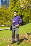 Male fashion model with a bag Royalty Free Stock Images