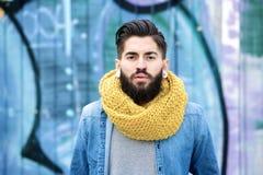 Male fashion model with beard stock photos