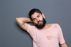 Male fashion model with beard Royalty Free Stock Image