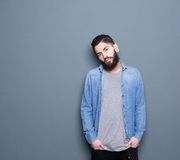 Male fashion model with beard Royalty Free Stock Photography