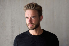 Male fashion model with beard staring Stock Images