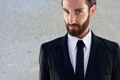 Male fashion model in black suit and tie Stock Photo