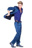 Male fashion model in blue suit Royalty Free Stock Photography