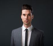 Male fashion model in gray suit and tie Stock Photos