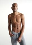 Male fashion model posing with no shirt Royalty Free Stock Images