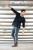 Male fashion model posing outdoors Royalty Free Stock Photos