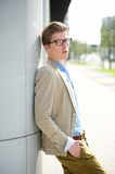 Male fashion model posing outdoors. Portrait of a male fashion model posing outdoors Royalty Free Stock Photo