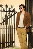 Male fashion model street photography Royalty Free Stock Image