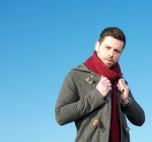 Male fashion model with winter jacket Royalty Free Stock Photo