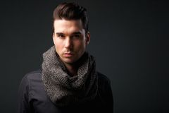 Male fashion model with wool scarf Stock Images