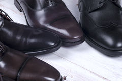 Male fashion with shoes on white Royalty Free Stock Image