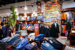 Male fashion store in Emporia shopping mall in Malmo, Sweden. MALMO, SWEDEN - JANUARY 2, 2015: Male fashion store in Emporia shopping mall in Malmo, Sweden Royalty Free Stock Image