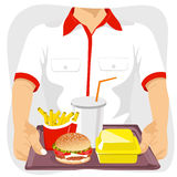 Male fast food restaurant employee holding tray with common fast food snacks. Cropped illustration of male fast food restaurant employee holding tray with common stock illustration