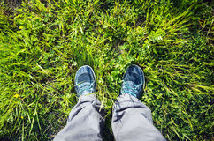 Male feet in blue sport shoes on grass Royalty Free Stock Image