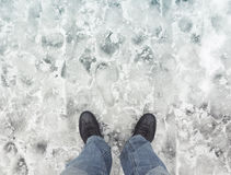 Free Male Feet In New Shoes Stand On Wet Dirty Snow Royalty Free Stock Image - 70061186