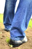 Male feet walking on the soil Royalty Free Stock Photography
